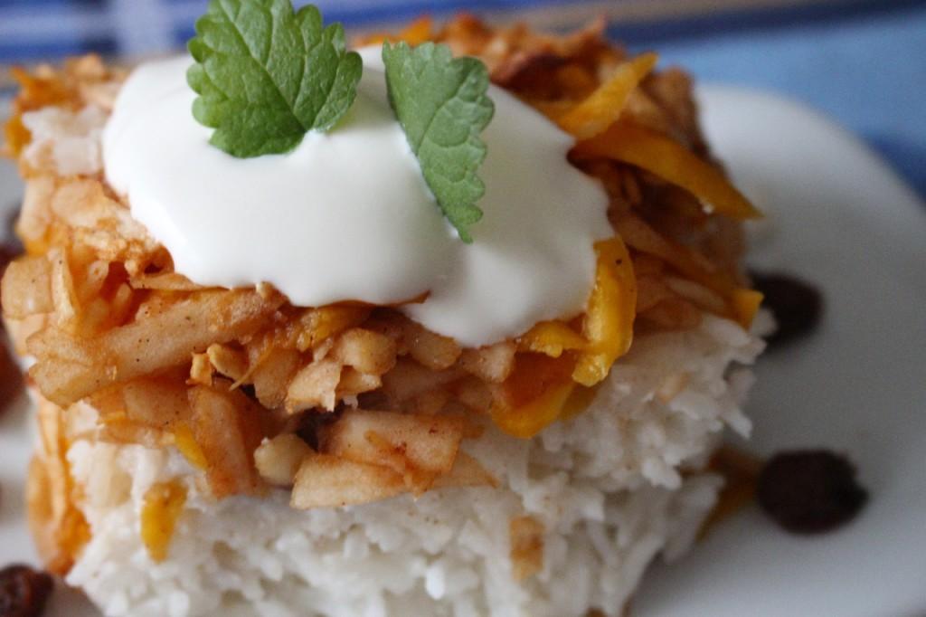 Winter Luxury Kürbis mit Äpfeln auf Reis: Vegan, Rezept