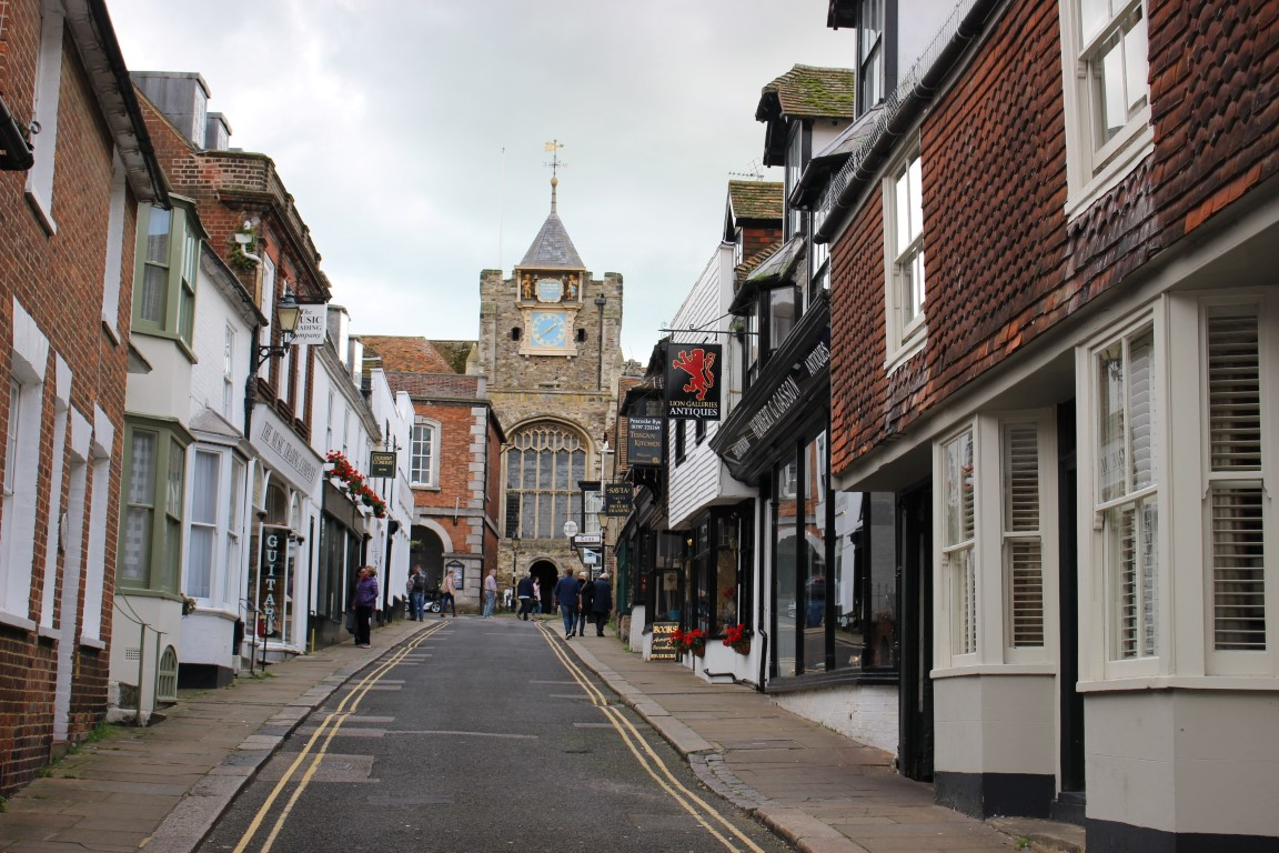 View of St. Mary's Church at the top of Lion Street, Rye UK