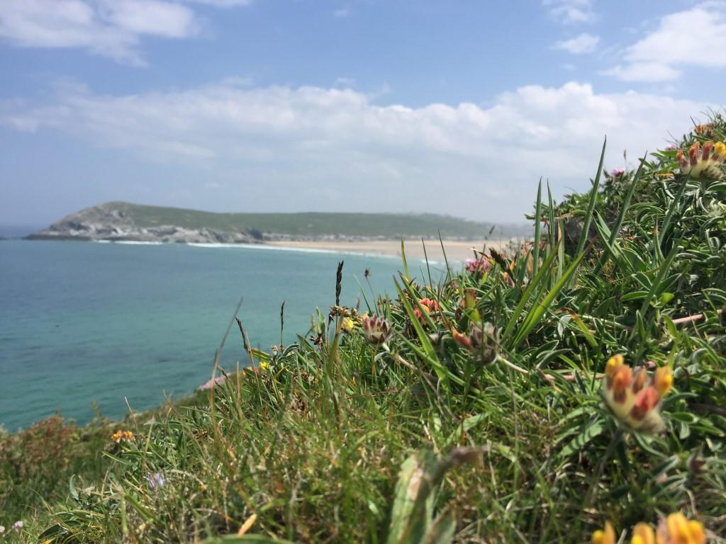 Blick von einem Küstenwanderweg im wunderschönen Cornwall
