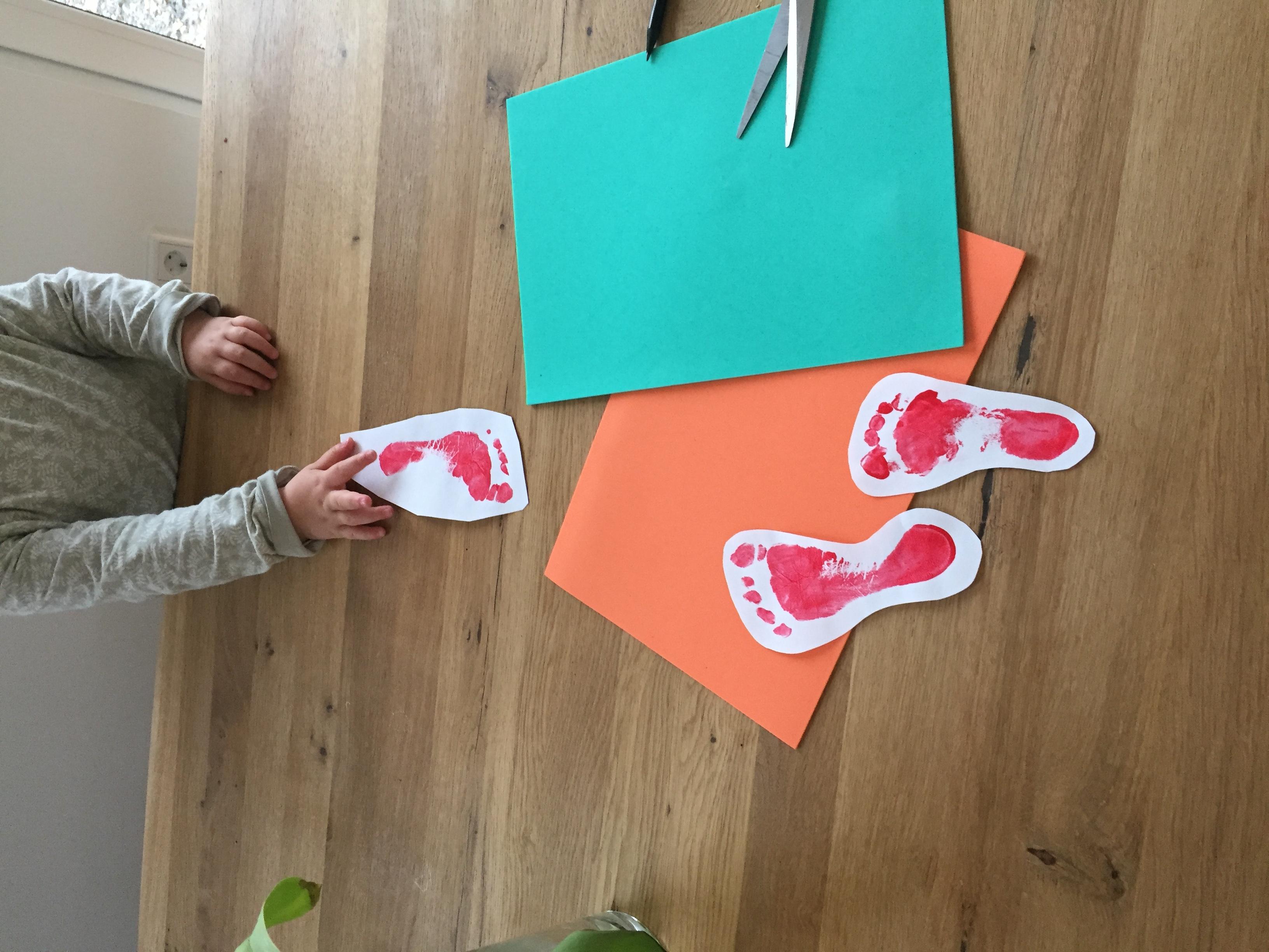 Möhren Babyfüße Fußabdruck Ostern DIY